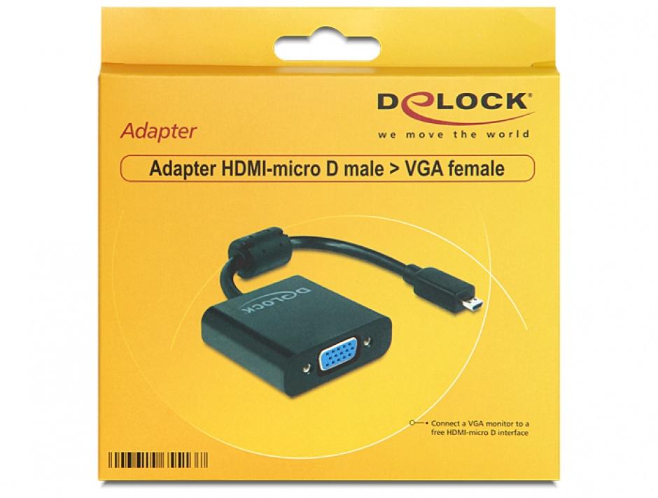 Imagine Adaptor micro HDMI-D la VGA T-M Negru, Delock 65513