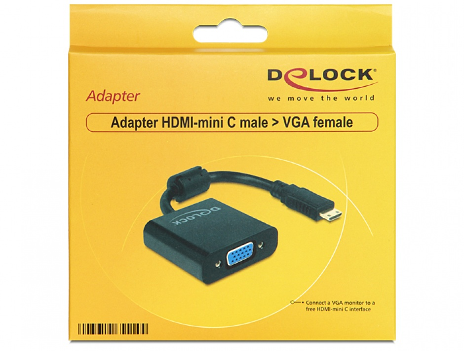 Imagine Adaptor mini HDMI-C la VGA T-M Negru, Delock 65514
