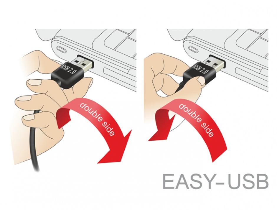 Imagine Adaptor EASY-USB 2.0-A T la USB 2.0-A M unghi 90 grade sus/jos, Delock 65521