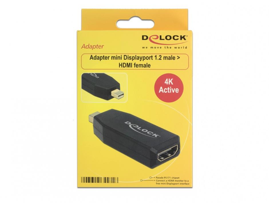 Imagine Adaptor mini Displayport 1.2 la HDMI T-M 4K Activ negru, Delock 65581