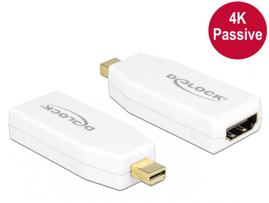 Imagine Adaptor mini Displayport 1.2 la HDMI T-M 4K pasiv alb, Delock 65584