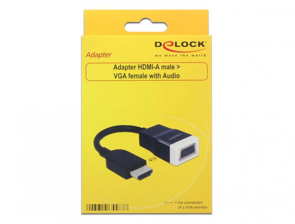 Imagine Adaptor HDMI la VGA cu Audio T-M Negru/Alb, Delock 65587