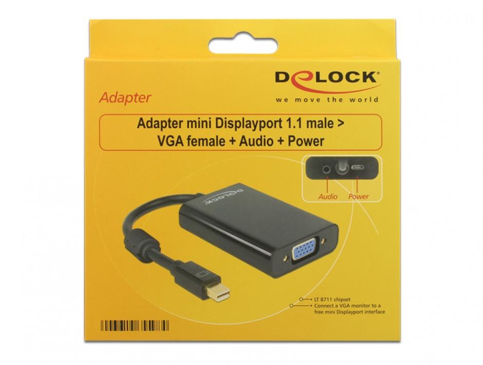 Imagine Adaptor mini Displayport la VGA + Audio + Alimentare Negru T-M, Delock 65598