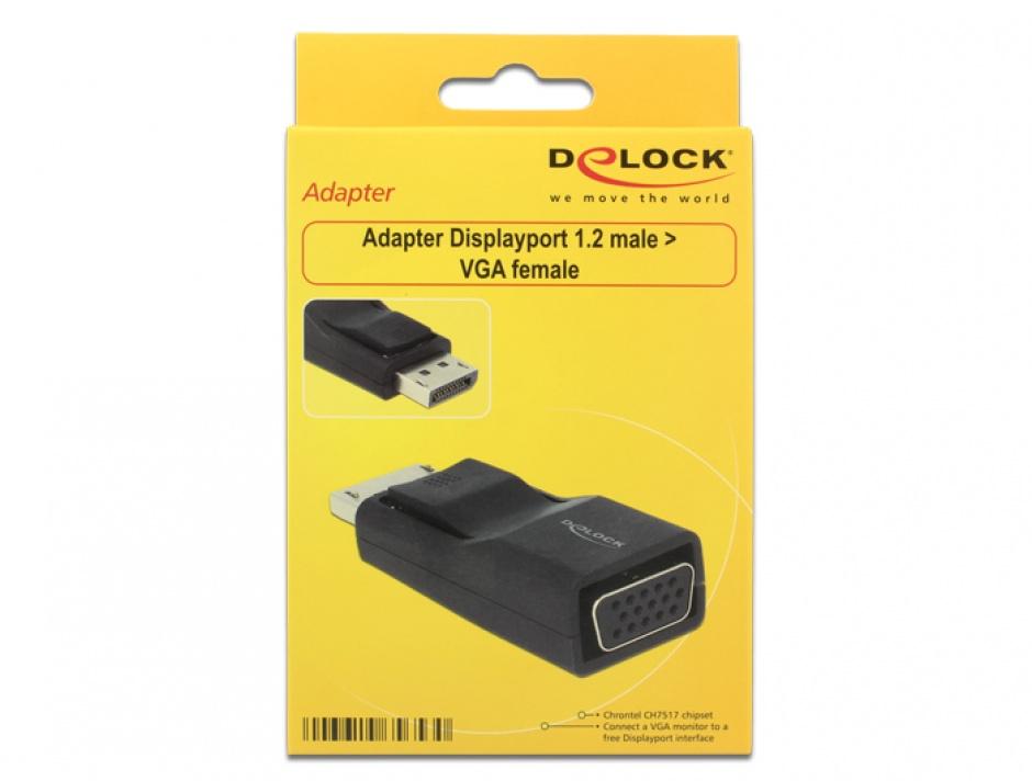 Imagine Adaptor mini Displayport 1.2 la VGA T-M negru, Delock 65654