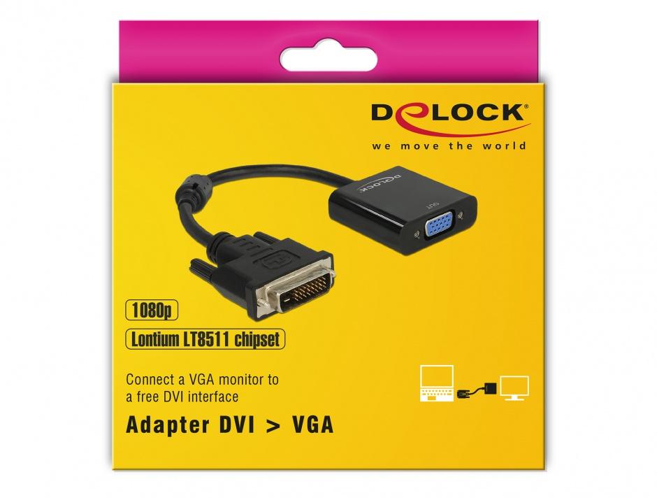 Imagine Adaptor DVI-D Dual Link 24+1 pini la VGA T-M Negru, Delock 65658