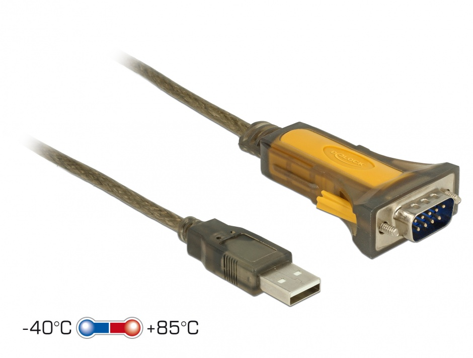 Imagine Adaptor USB la Serial RS-232 DB9 extended temperature range, Delock 65840