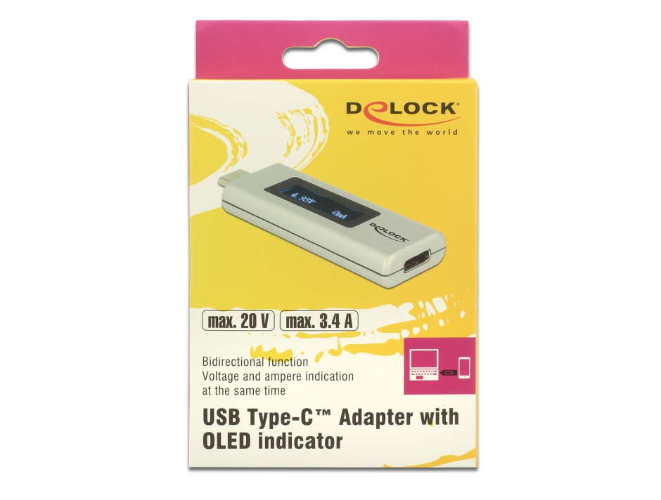 Imagine Adaptor USB-C PD (Power Delivery) cu indicator OLED pentru amperaj si voltaj, Delock 65844