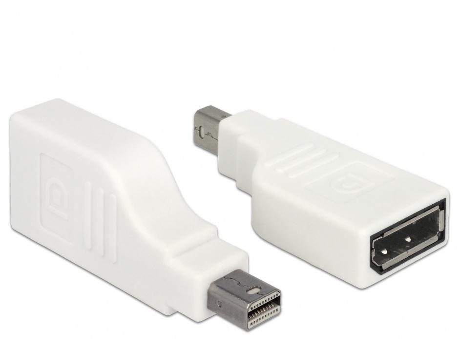 Imagine Adaptor mini Displayport la Displayport T-M Alb 4K 60 Hz unghi 90°, Delock 65867