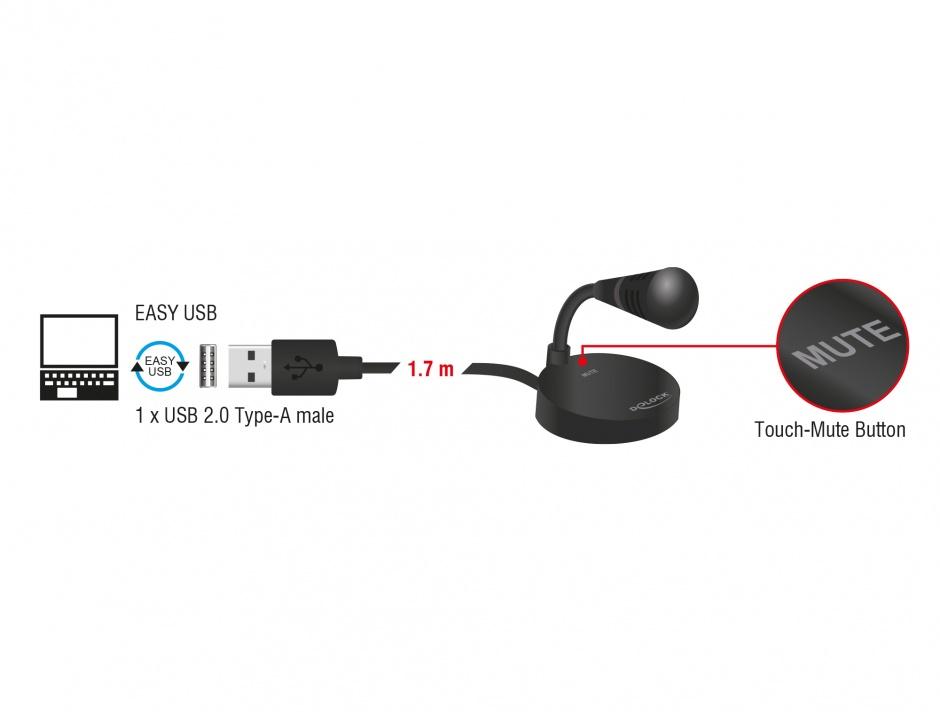 Imagine Microfon USB cu baza si buton tactil Mute, Delock 65868