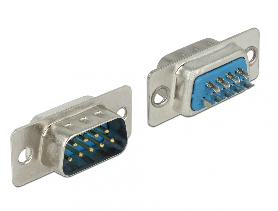 Imagine Conector de lipit serial D-SUB 9 pini tata, Delock 65881