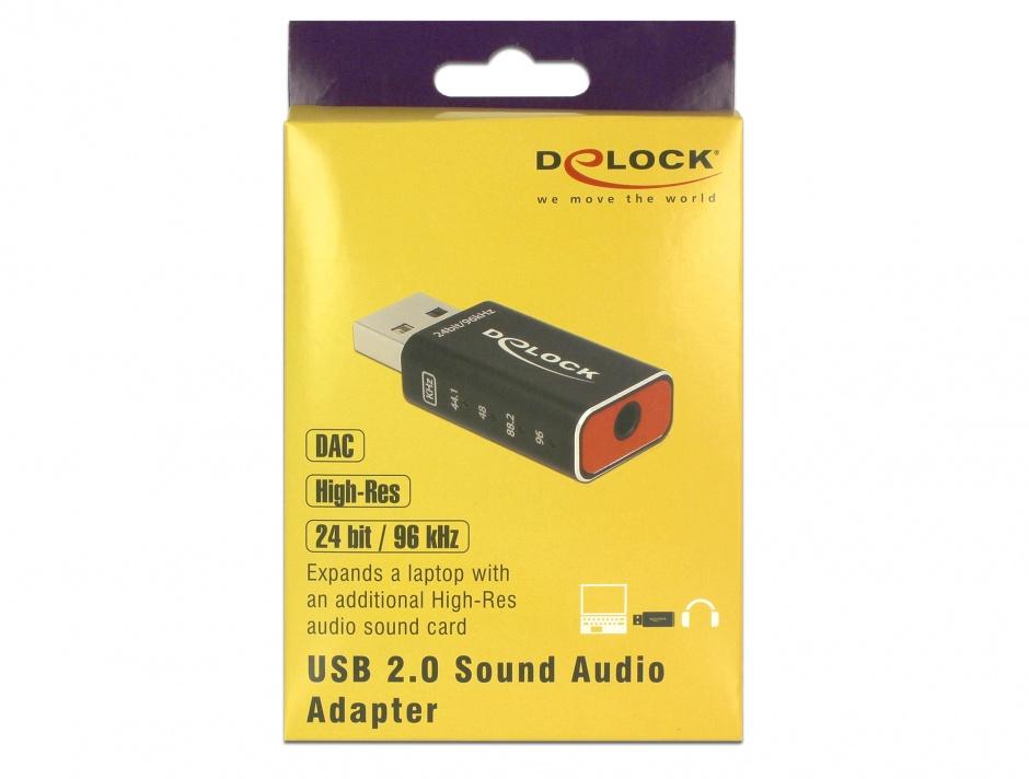Imagine Placa de sunet USB 2.0 High-Res DAC Audio 24 bit / 96 kHz, Delock 65899