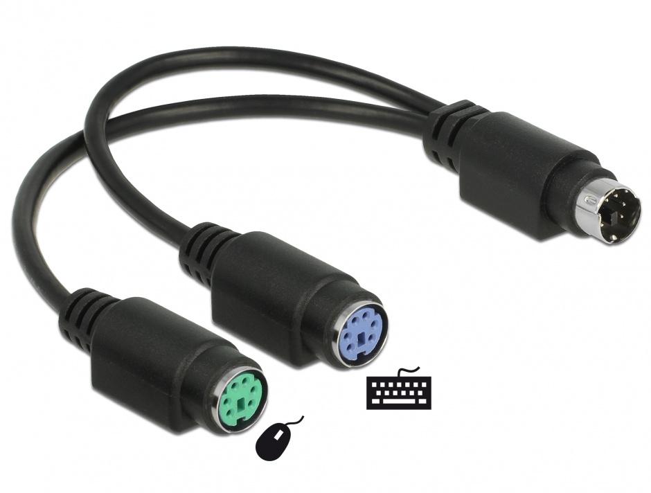 Imagine Cablu splitter PS/2 la 2 x PS/2 T-M 20cm, Delock 65900