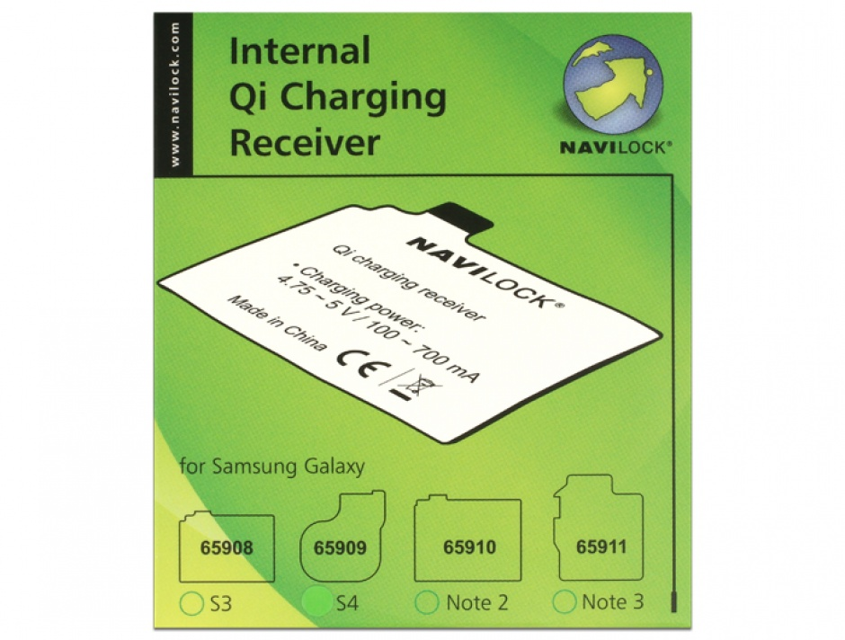 Imagine Receptor intern Qi Charging pentru Samsung Galaxy S4, Navilock 65909