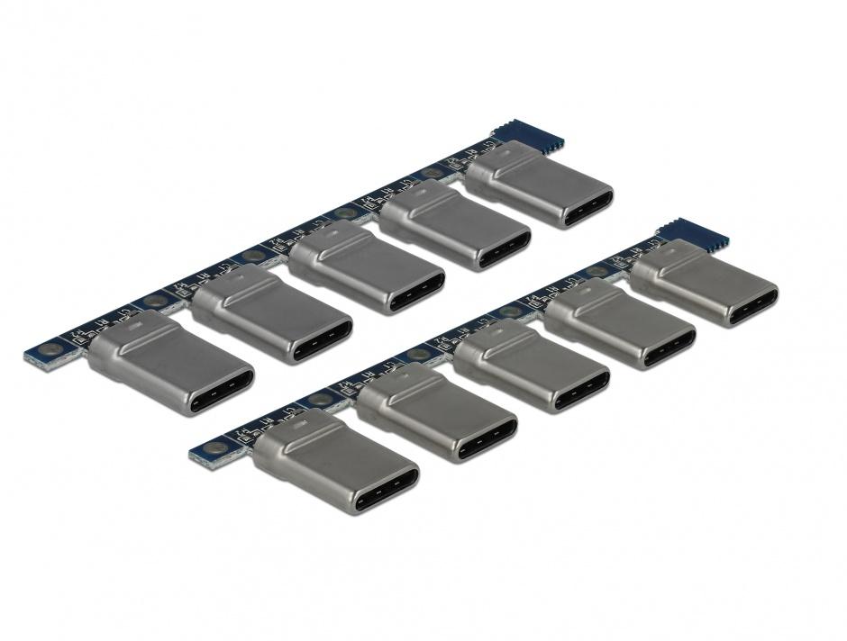 Imagine Set 10 bucati conector USB-C 2.0 tata, Delock 65966