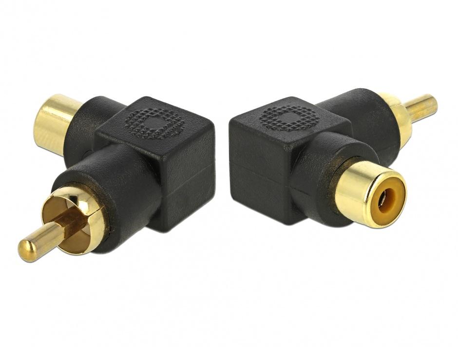 Imagine Adaptor RCA T-M unghi 90 grade, Delock 66168