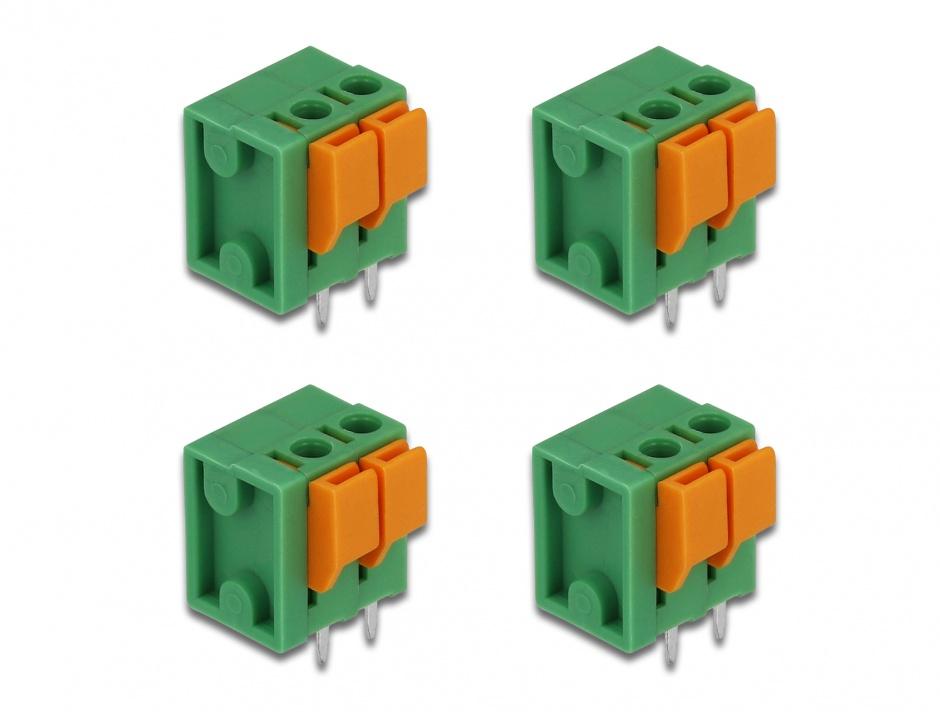Imagine Set 4 buc bloc terminal pentru PCB 2 pini 5.08 mm pitch vertical, Delock 66269