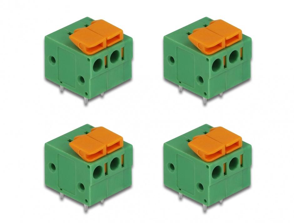 Imagine Set 4 buc bloc terminal pentru PCB 2 pini 5.08 mm pitch orizontal, Delock 66274