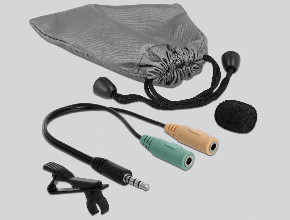 Imagine Microfon tip lavaliera Omnidirectional cu Clip jack stereo 3.5mm + Adaptor pentru Smartphone/tableta
