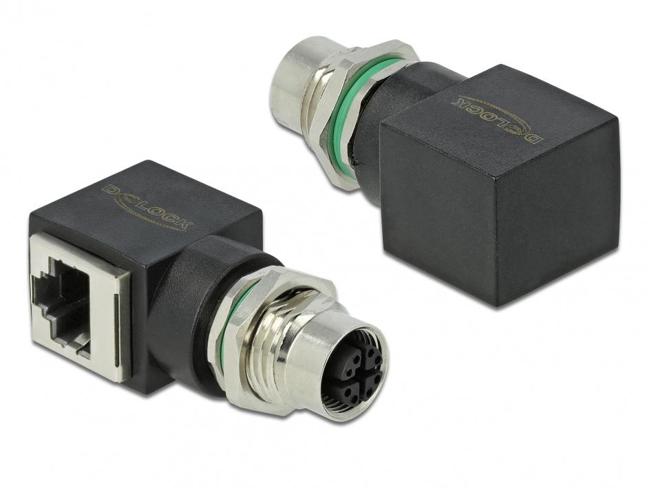 Imagine Adaptor retea M12 8 pini X-coded la RJ45 M-M, Delock 66316