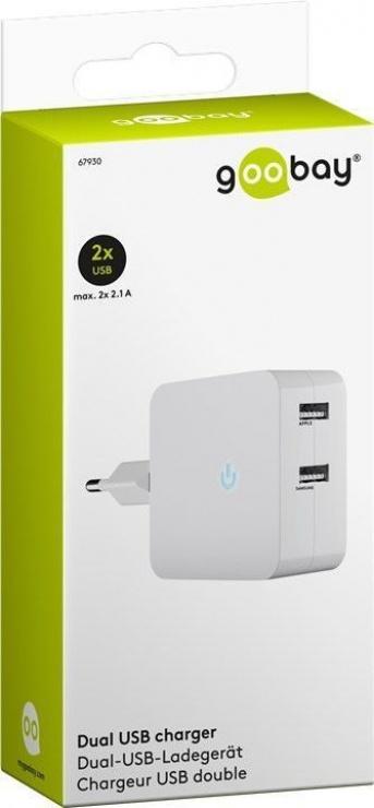 Imagine Incarcator priza 230V la 2 x USB 4.1A, Goobay 67930-2