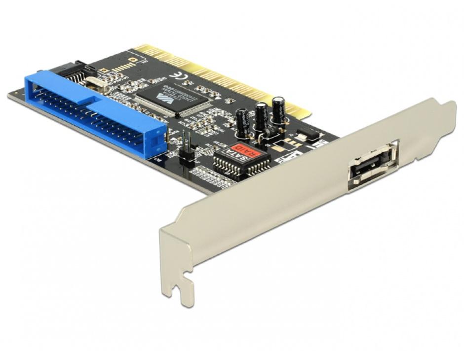 Imagine Placa PCI la 1 x eSATA, 1 x SATA, 1 x IDE, Delock 70156