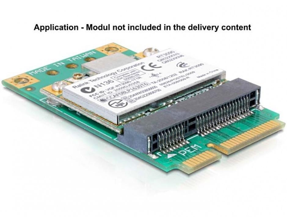 Imagine Adaptor Mini PCI Express half-size la full-size, Delock 65229-1