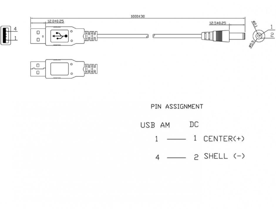 Imagine Cablu USB de alimentare la DC 5.5 x 2.1mm 1m, Delock 82197