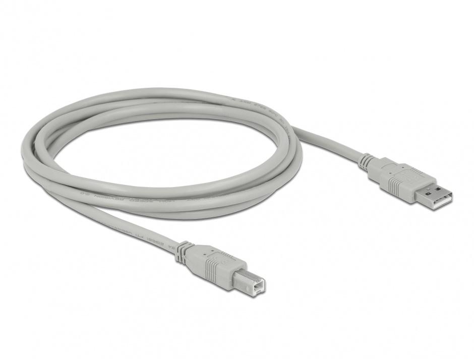 Imagine Cablu de imprimanta USB-A 2.0 la USB-B 1.8m T-T Gri, Delock 82215