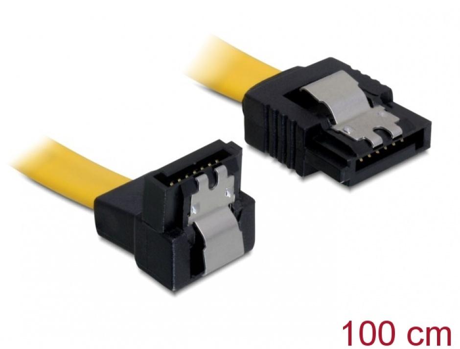 Imagine Cablu SATA II 3 Gb/s drept-unghi cu fixare 1M, Delock 82485