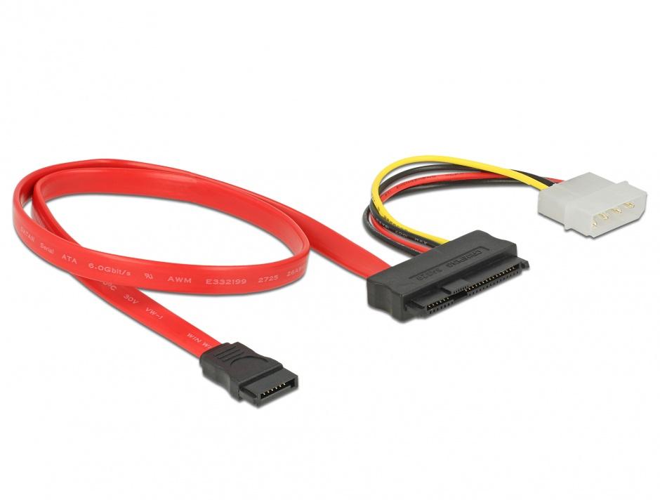 Imagine Cablu SAS SFF-8482 la SATA si alimentare Molex 50cm, Delock 82634
