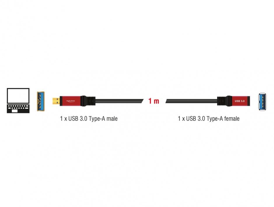 Imagine Cablu prelungitor USB 3.0 T-M 1m Premium, Delock 82752