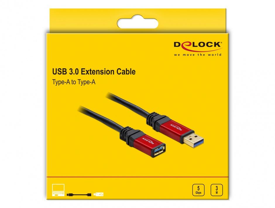 Imagine Cablu prelungitor Premium USB 3.0 T-M 3m, Delock 82754