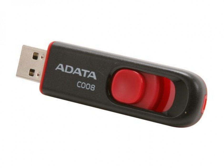 Imagine Stick USB 2.0 retractabil C008 64GB Negru&Rosu, ADATA