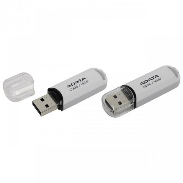 Imagine Stick USB 2.0 cu capac 16GB C906 Alb, ADATA