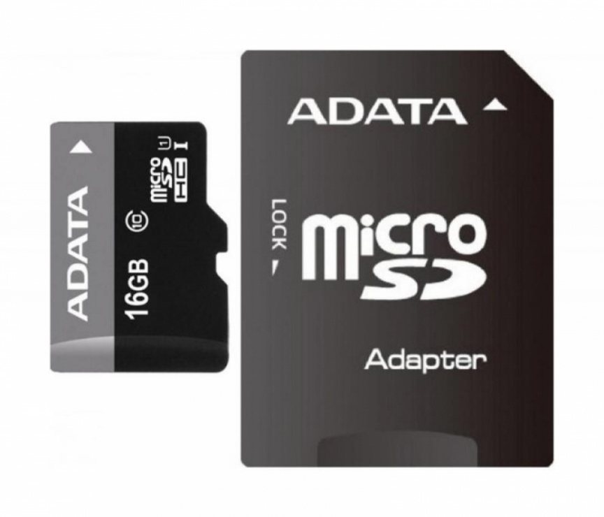 Imagine Card de memorie micro SDHC 16GB clasa 10 + adaptor SD, ADATA AUSDH16GUICL10-RA1