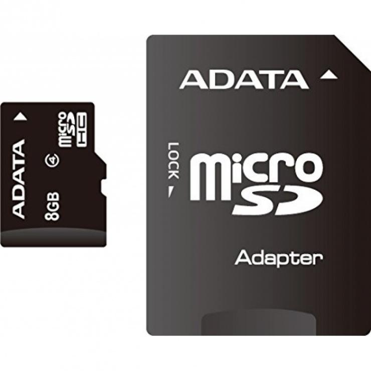 Imagine Card de memorie micro SDHC 8GB clasa 4 + adaptor SD, ADATA AUSDH8GCL4-RA1