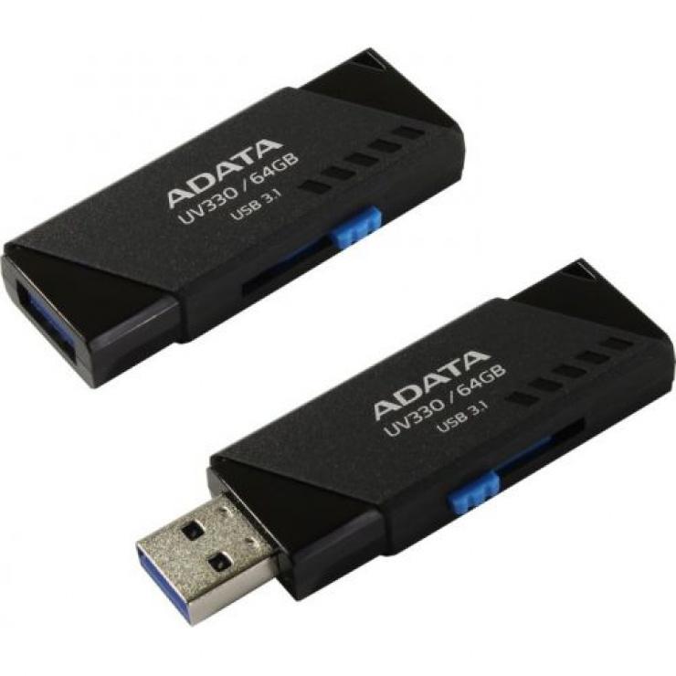 Imagine Stick USB 3.1 64GB UV330 retractabil Negru, ADATA AUV330-64G-RBK