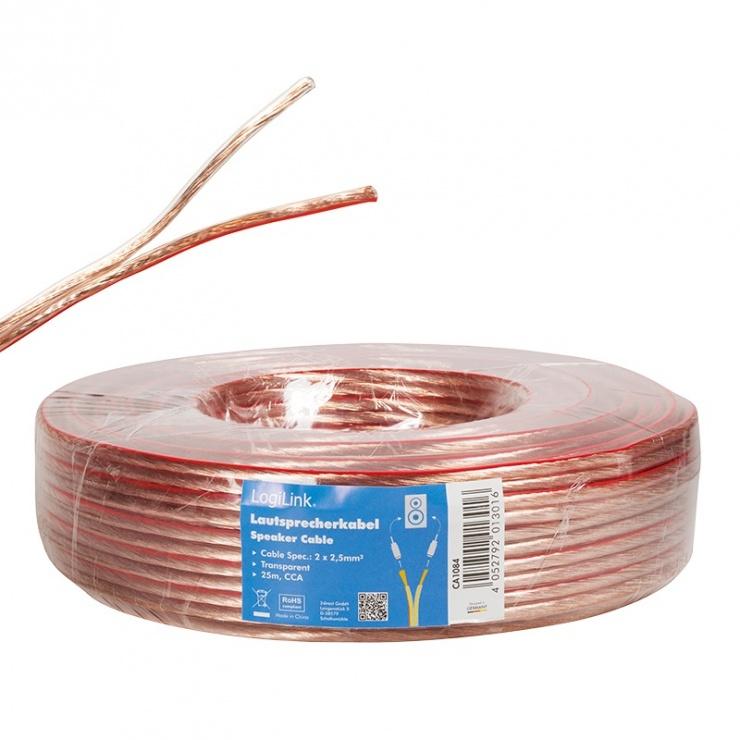 Imagine Cablu pentru boxe/difuzor transparent 2 x 2.5mm 25m, Logilink CA1084