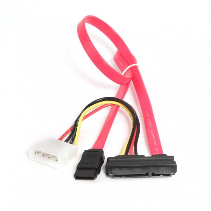Imagine Cablu SATA 22 pini la 7 pini + alimentare Molex, Gembird CC-SATA-C1
