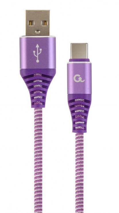Imagine Cablu USB 2.0 la USB-C Premium Alb/Mov brodat 2m, Gembird CC-USB2B-AMCM-2M-PW