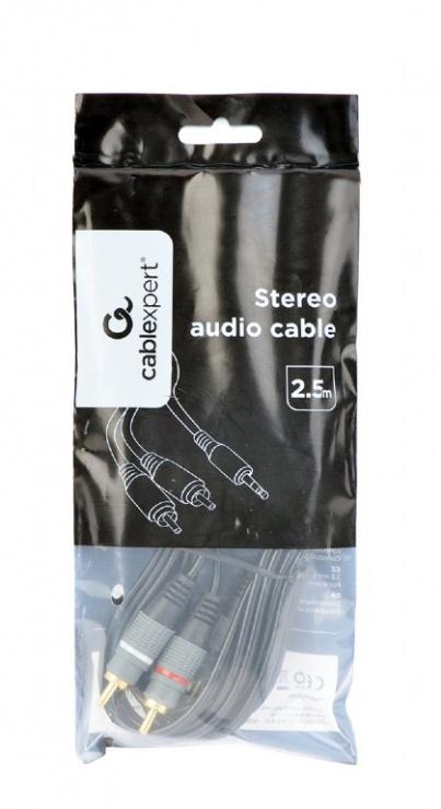 Imagine Cablu audio Premium jack 3.5mm la 2 x RCA T-T 2.5m, Gembird CCA-352-2.5M