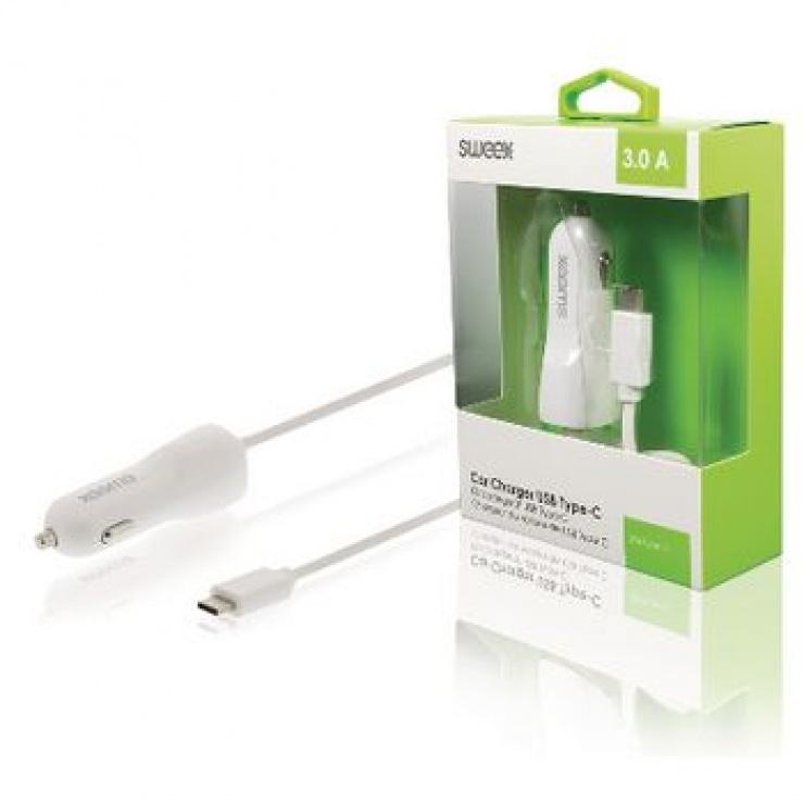 Imagine Incarcator auto USB-C 3A 1m Alb, Sweex CH-010WH