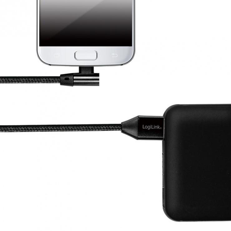 Imagine Cablu USB 2.0 la micro USB-B unghi 90 grade T-T 1m Negru, Logilink CU0142