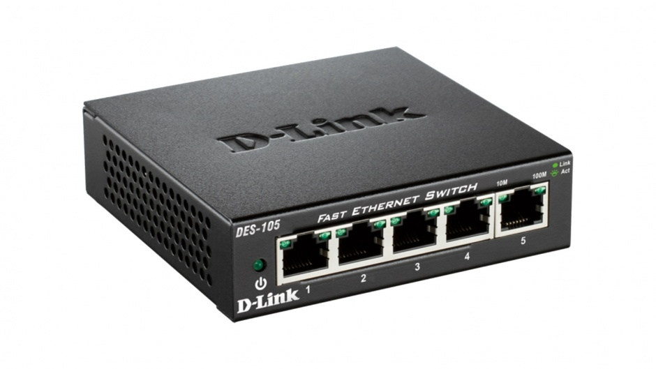 Imagine Switch 5 porturi 10/100 Mb/s carcasa metalica, D-LINK DES-105