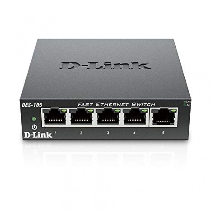 Imagine Switch 5 porturi 10/100 Mb/s carcasa metalica, D-LINK DES-105