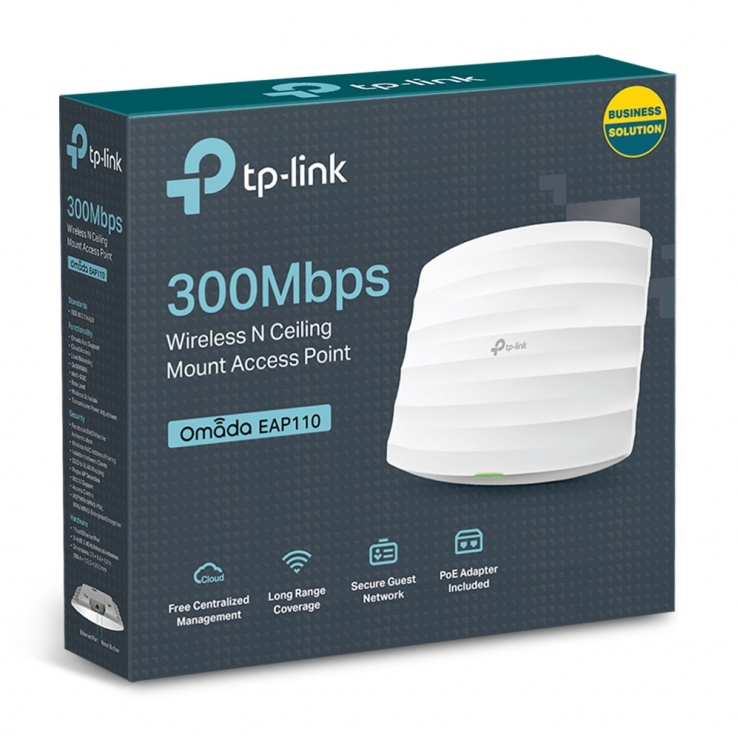 Imagine Acces Point wireless 300Mbps, montare pe tavan, TP-LINK EAP110