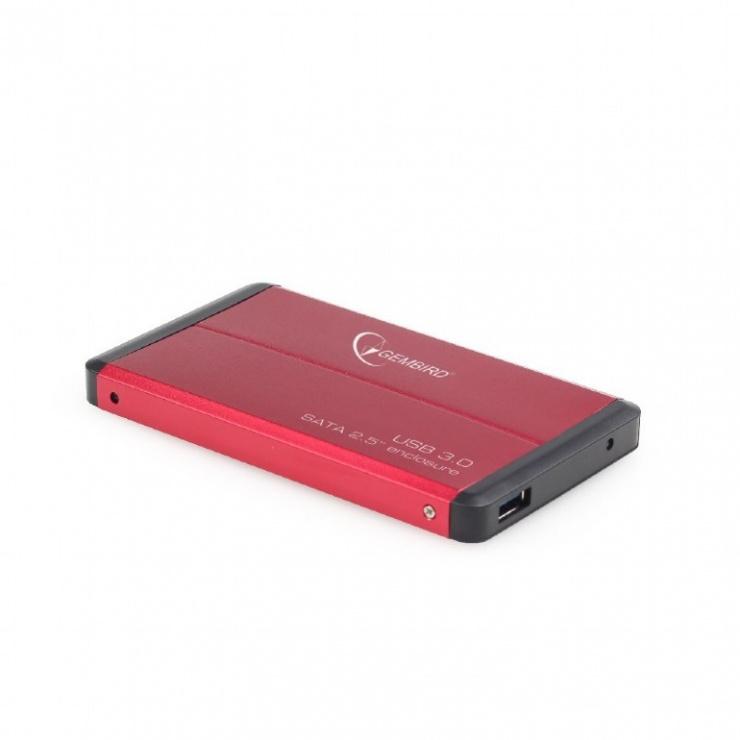 """Imagine Rack extern 2.5"""" pentru HDD SATA cu USB 3.0 Rosu, Gembird-1"""