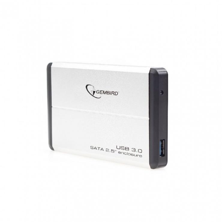 "Imagine Rack extern 2.5"" pentru HDD SATA cu USB 3.0 Argintiu, Gembird EE2-U3S-2-S"