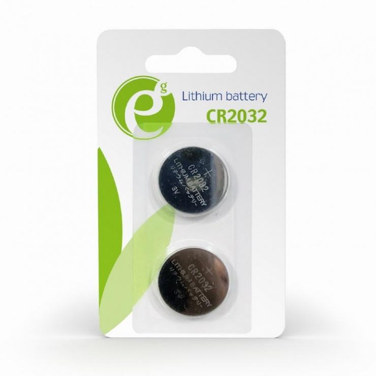 Imagine Blister 2 buc baterie CR2032, Gembird EG-BA-CR2032-01