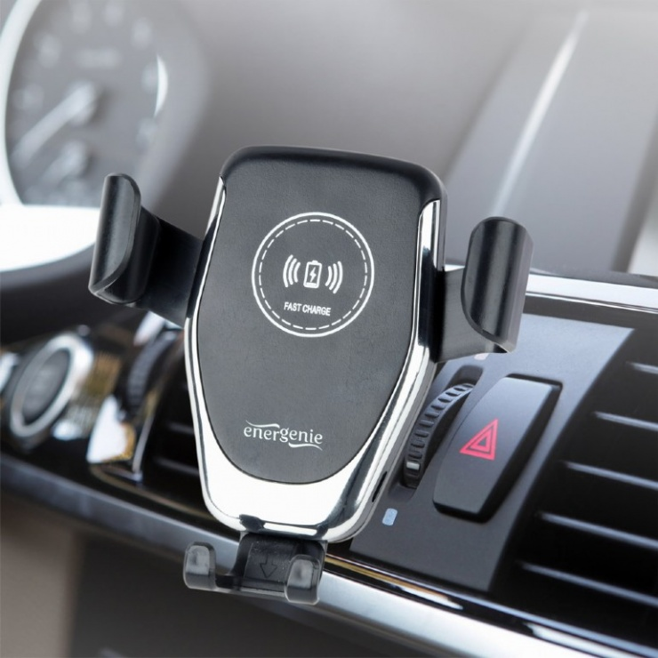 Imagine Suport auto cu incarcare rapida wireless 10W, Gembird EG-TA-CHAV-QI10-01